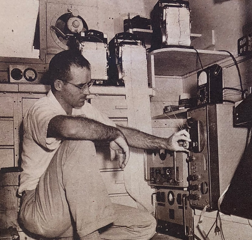 Burke adjusting recording instruments at a Carnegie radio receiver truck. Photo: DTM Archives, via the Baltimore Sun.