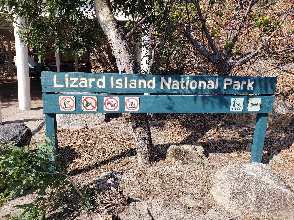 Lizard Island National Park sign. Courtesy Ken Caldeira.
