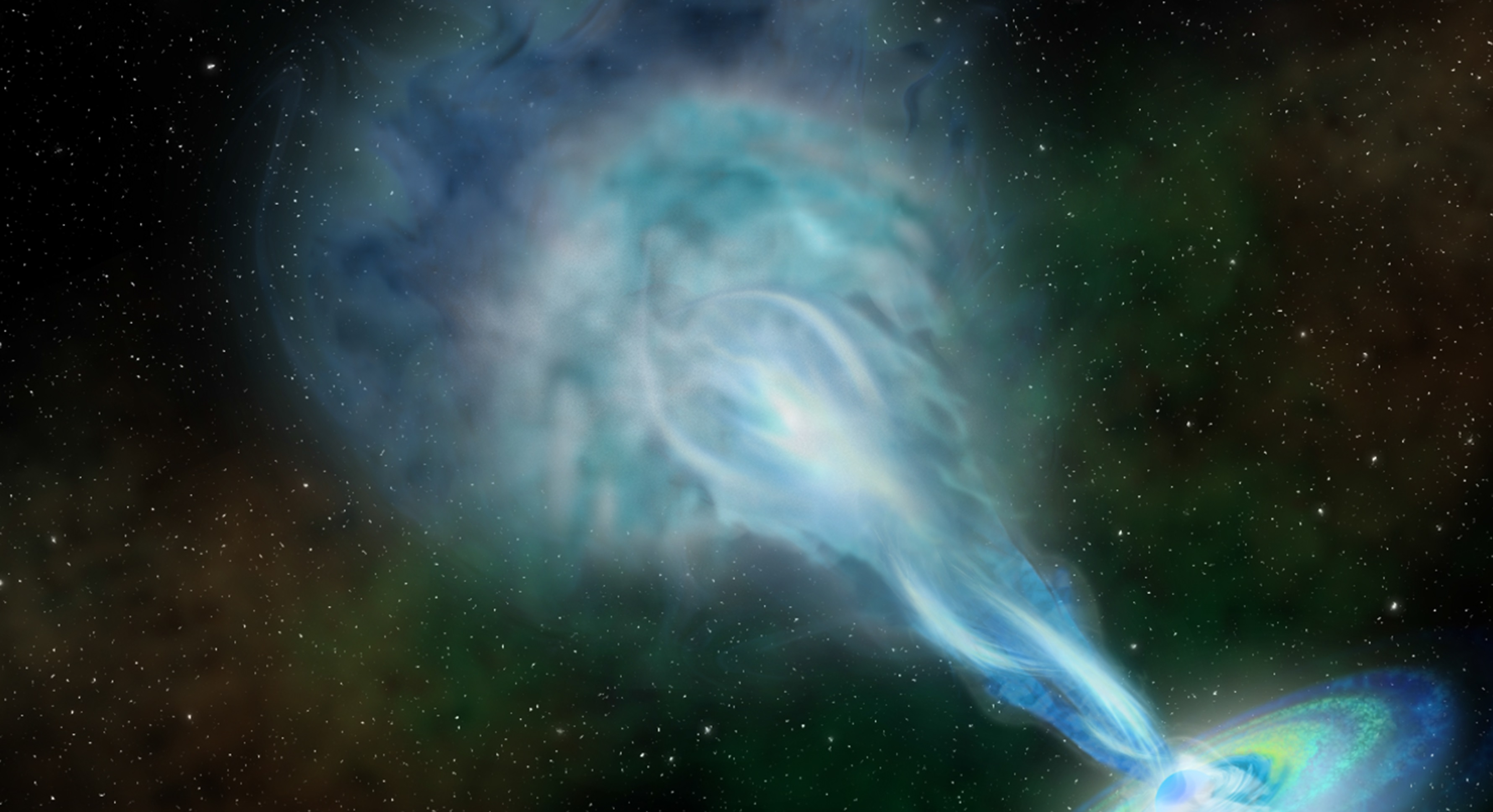 An artist's conception of a radio jet spewing out fast-moving material from the newly discovered quasar. Artwork by Robin Dienel, courtesy of Carnegie Institution for Science.