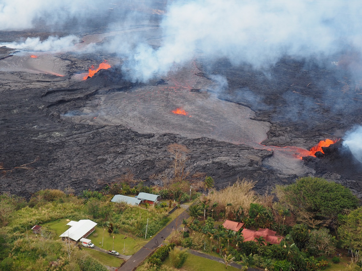 Lava deposits in Leilani Estates (Credit: B. Shiro, USGS)