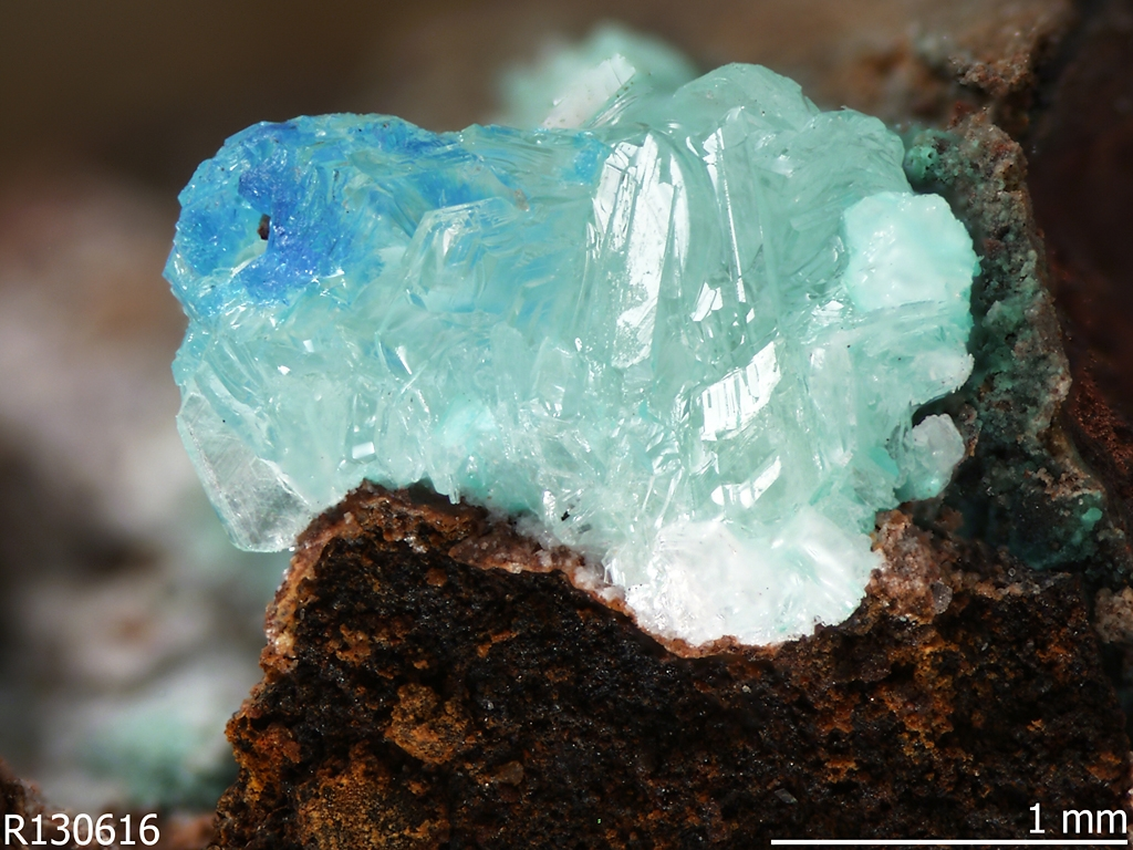 Simonkolleite [Zn5(OH)8Cl2·H2O] found on a copper mining artifact, Rowley mine, Maricopa County, Arizona.  Credit RRUFF.