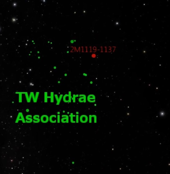 Caption: 2MASS J1119–1137 belongs in the youngest group of stars in the solar neighborhood, known collectively as the TW Hydrae association, which contains about two dozen 10 million-year-old stars, all moving together through space. This image is a still shot from a video about these results produced and directed by David Rodriguez, using visualization software Uniview by SCISS and the American Museum of Natural History's Digital Universe data.The full video is available here. A larger version of this image is available here.