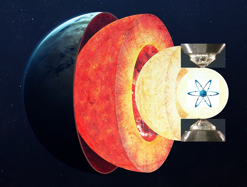 Caption: An illustration of how laboratory techniques can tell scientists like Anat Shahar and her team about how elements such as iron behave under the extreme pressures found in the Earth's core. Background image courtesy of Vadim Sadovski, additional imagery courtesy of Anat Shahar.