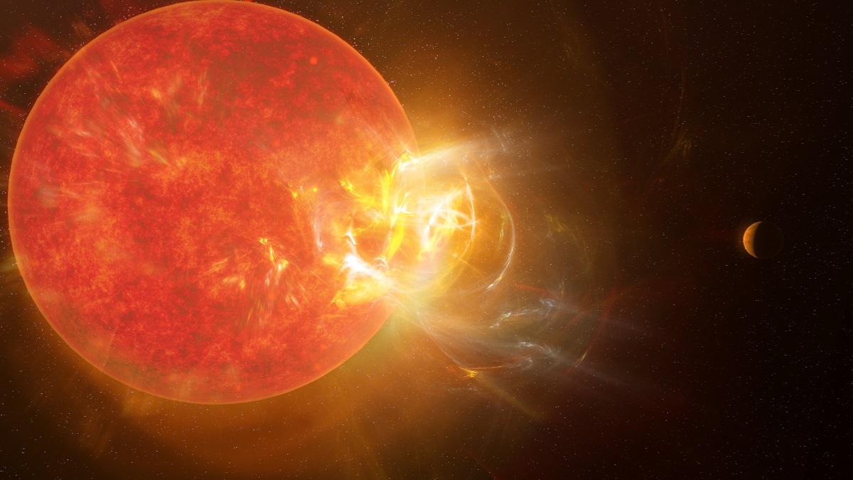 A violent stellar flare erupting on Proxima Centauri. Credit: NRAO/S. Dagnello.