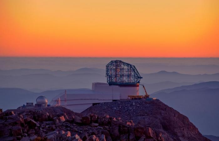 This photo of LSST at sunset was taken from behind the nearby Gemini telescope.  Credit: LSST Project/NSF/AURA