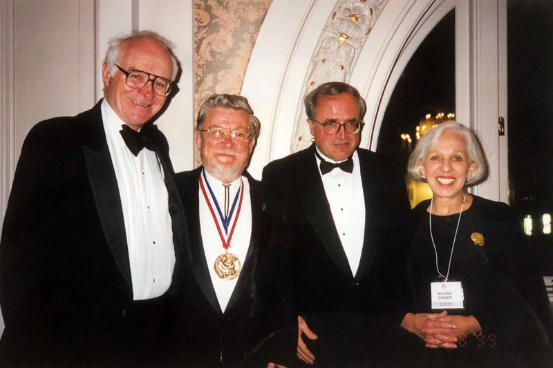 DTM's first three Merle A. Tuve Senior Fellows (from left) Bernard Burke, Don Anderson, and Renzo Sancisi pictured with Maxine Singer, President Emeritus of the Carnegie Institution from 1988 to 2002.
