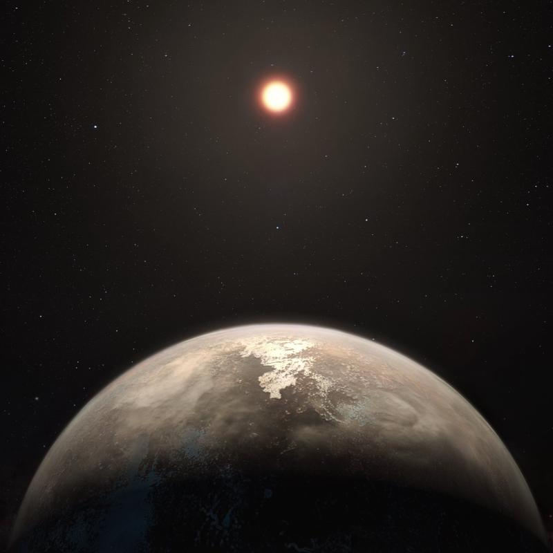 Caption: This artist's impression shows the temperate planet Ross 128 b, with its red dwarf parent star in the background. It is provided courtesy of ESO/M. Kornmesser.