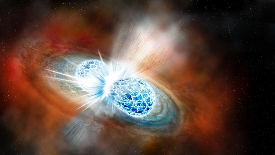 Artists' rendition of two neutron stars merging.