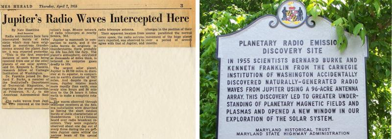 Left: News story on The Washington Post and Times Herald covering Burke and Franklin's discovery. Right: Roadside historic marker of the discovery. Photos: DTM Archives