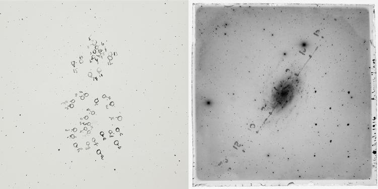 Inked plates. Images by Edwin Hubble and George Willis Ritchey