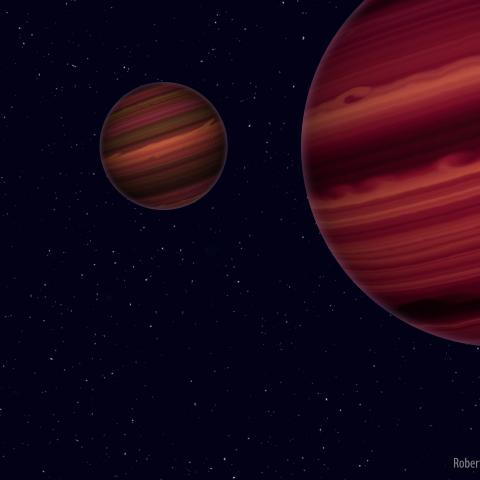 Artist's conception of the Epsilon Indi system. Illustration is by Roberto Molar Candanosa and Sergio Dieterich, courtesy of the Carnegie Institution for Science.