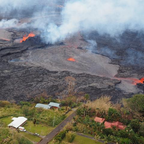 Lava deposits in Leilani Estates (Credit: B. Shiro, USGS)