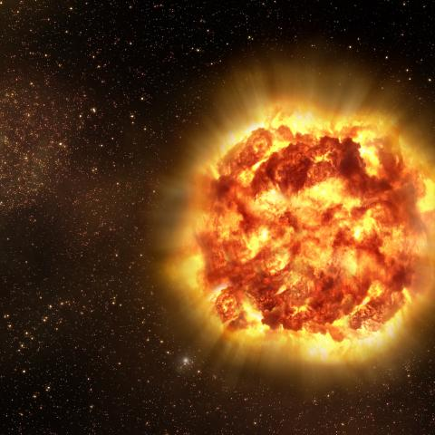 An artist's conception of a type Ia supernova exploding, courtesy of ESO.