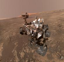 Self-portrait of NASA's Curiosity Mars rover on Vera Rubin Ridge with Mount Sharp poking up just behind the vehicle's mast. Image is courtesy of NASA/JPL-Caltech/MSSS Curiosity.