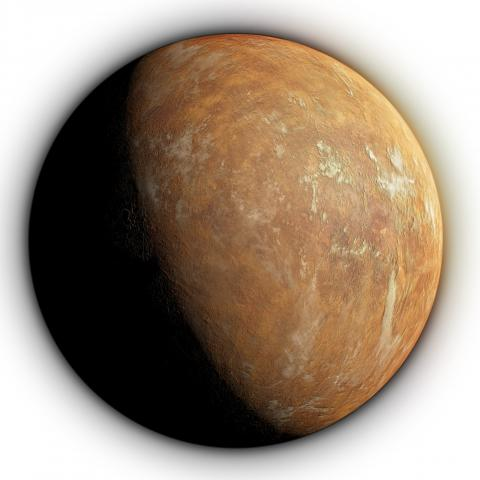 Artist's impression of Barnard's Star planet under the orange tinted light from the star.  Credit: IEEC/Science-Wave - Guillem Ramisa