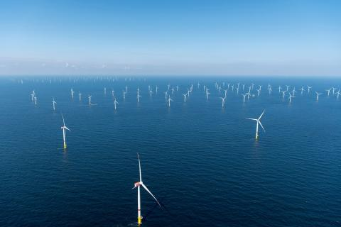 Photograph of an offshore wind farm purchased from Shutterstock.