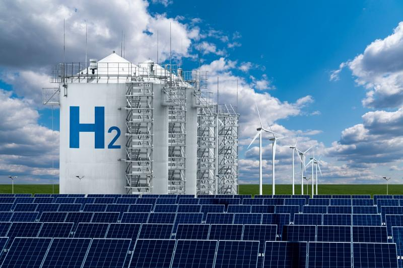 Artist's concept of hydrogen fuel production. Purchased from Shutterstock.