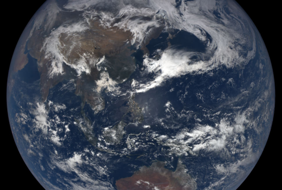 The planet Earth on April 17, 2019, courtesy NOAA/NASA EPIC Team.