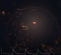 A giant star being slowly devoured by a black hole courtesy of NASA Goddard.